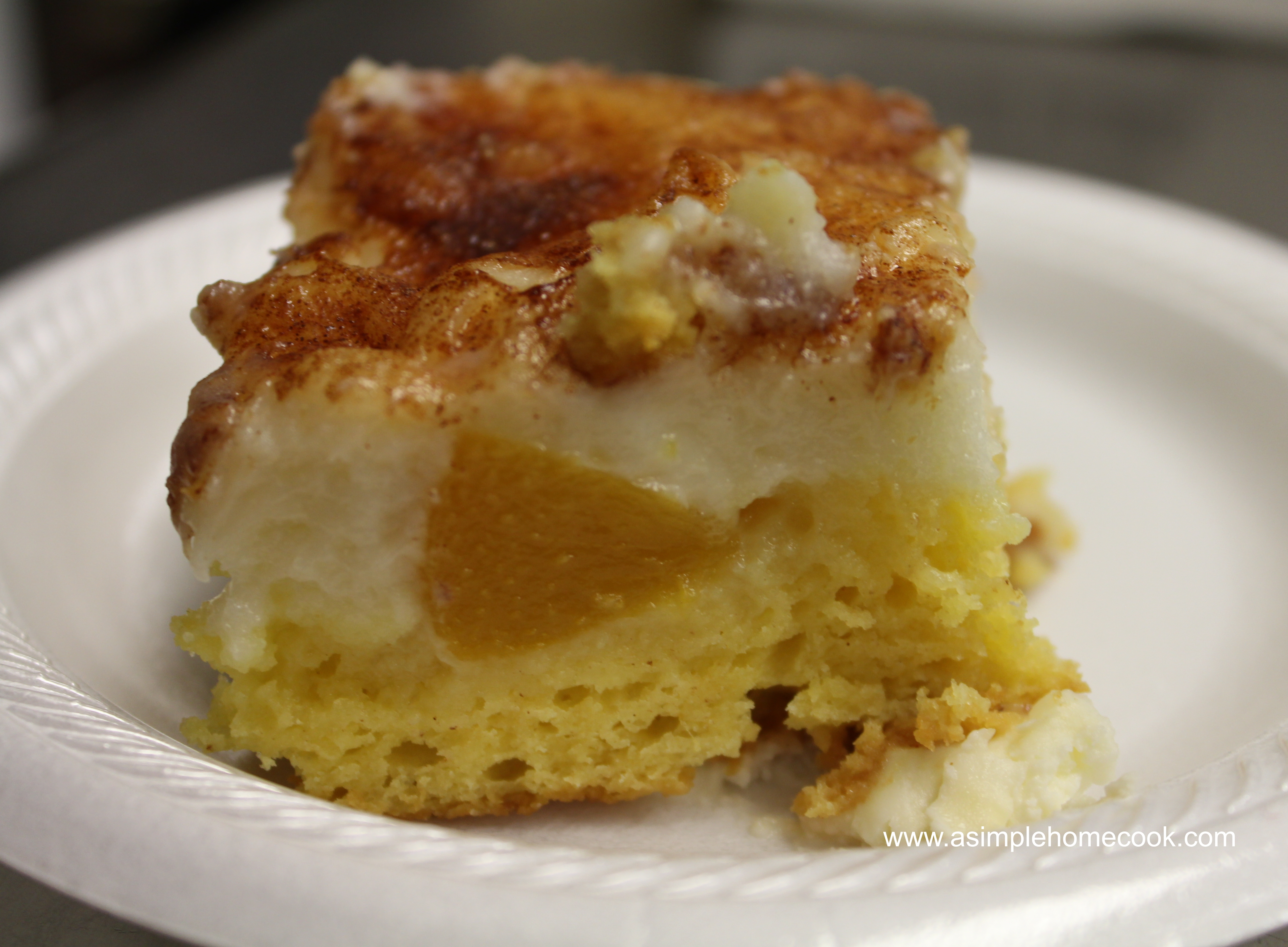 Peaches And Cream Cake With Pudding