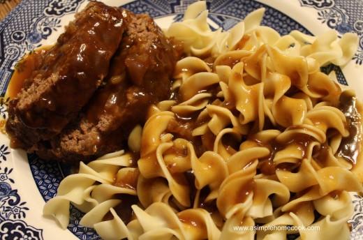 Sauerbrauten Meatloaf  and Noodles
