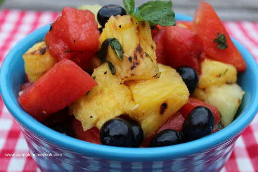 Grilled Fruit Salad with Honey-Mint Dressing