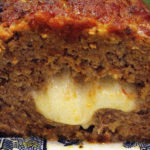 cut stuffed meatloaf close up