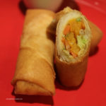 whole and sliced vegetable egg roll